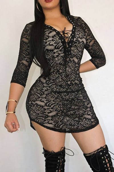 Round Neck See Through Printed One Piece size casual