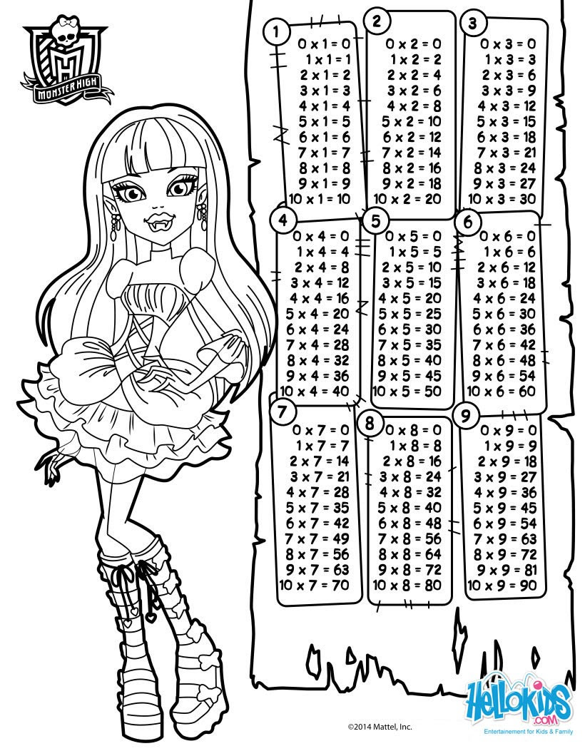 Dibujos Para Colorear Tablas De Multiplicar Monster High Es