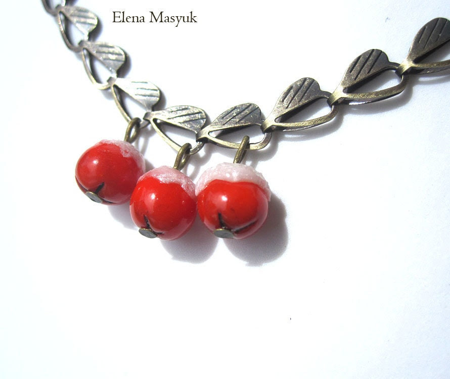 Handmade Christmas Necklace, Red & White,  Snow Berry , Bronze Findings - Masyuk
