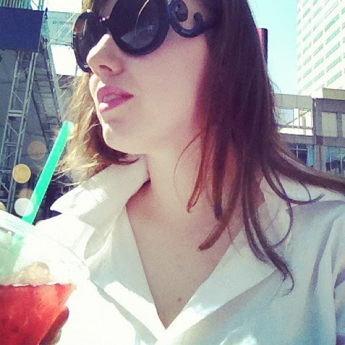 A moment for myself in the sunshine downtown - #starbucks #boyfriendshirt