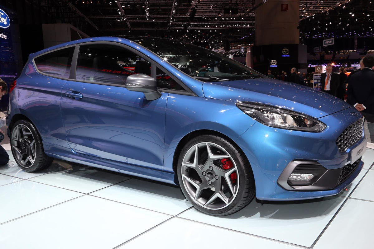Ford showed off a new Fiesta ST hot hatch with a powerful three-cylinder turbo engine.