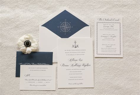 Nautical Wedding Invitation Anchor Invitation Compass