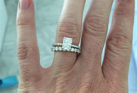 Mismatched bands. Infinity band. Radiant cut. Solitaire