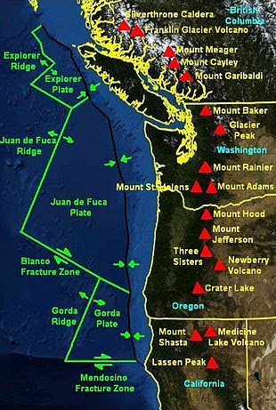 Juan de Fuca Triple Junctions and the Cascade Volcanic Arc, 2 earthquakes (M4.0 and M4.3) hit off Vancouver Island along the Cascadia Fault Zone on January 14 2018, 2 earthquakes (M4.0 and M4.3) hit off Vancouver Island along the Cascadia Fault Zone on January 14 2018 map