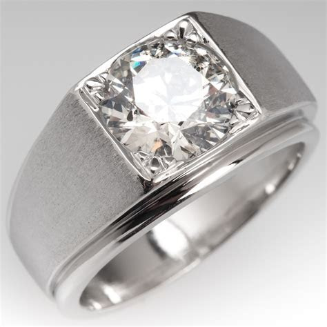 Bold Vintage Mens 2.8 Carat Diamond Ring Platinum