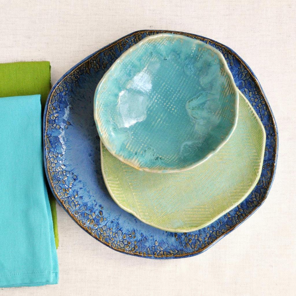 Handmade Dinnerware- Beach Cottage 3 pc set