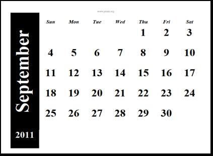 september 2011 printable calendar. printable September 2011