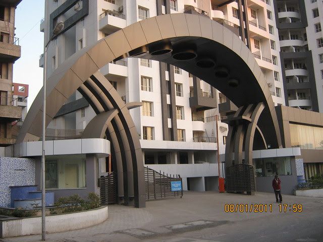 Main entrance gate of Pehtkar Projects' Balwantpuram - Samrajya in Shivtirthnagar, on Paud Road, in Kothrud, Pune 411 038