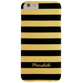 Gold and Black Stripes with Name iPhone 6 Plus Case