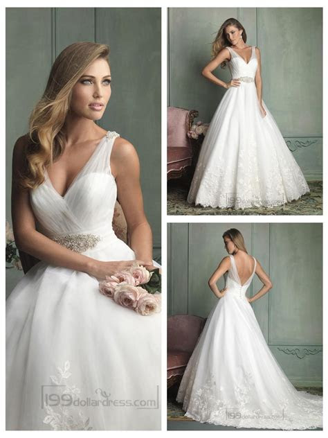Sheer Straps V neck And V back Ball Gown Wedding Dresses