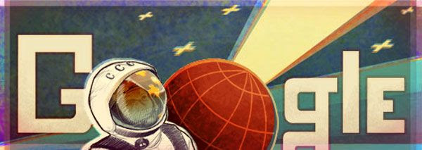 Today's 'Google doodle'...which celebrates Soviet cosmonaut Yuri Gagarin's historic flight into space on April 12, 1961.
