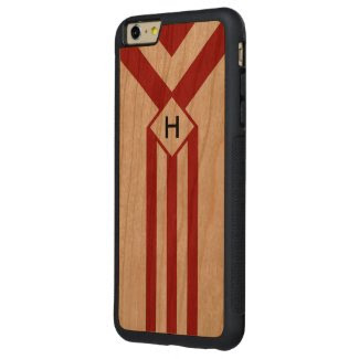 Red Stripes and Chevrons with Monogram on White Carved® Cherry iPhone 6 Plus Bumper
