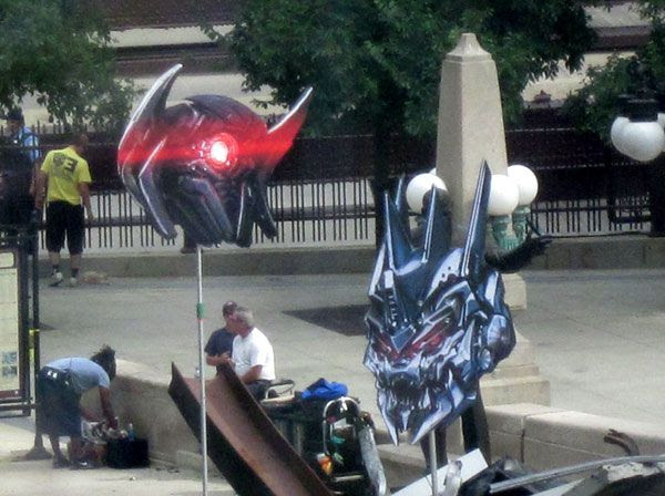 Cardboard cut-outs for Shockwave and Soundwave on the Chicago set of TRANSFORMERS 3.
