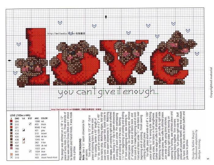 Rótulo de Love para punto de cruz.