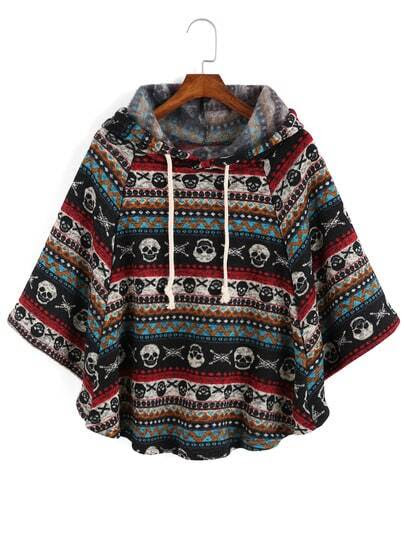 Hooded Drawstring Skull Cool Print Cape Coat pictures