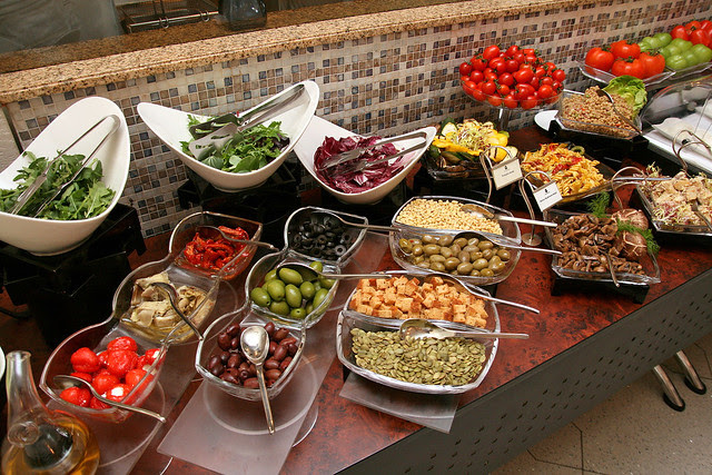 A fabulous antipasti salad bar - the highlight were the extra plump and sweet Pachino cherry tomatoes (upper right)