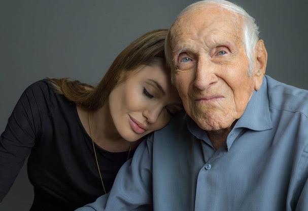 Angelina e o verdadeiro Louis Zamperini (Foto: Divulgação)