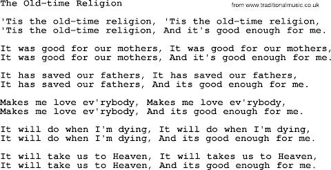 Give Me That Old Time Religion Lyrics Pdf