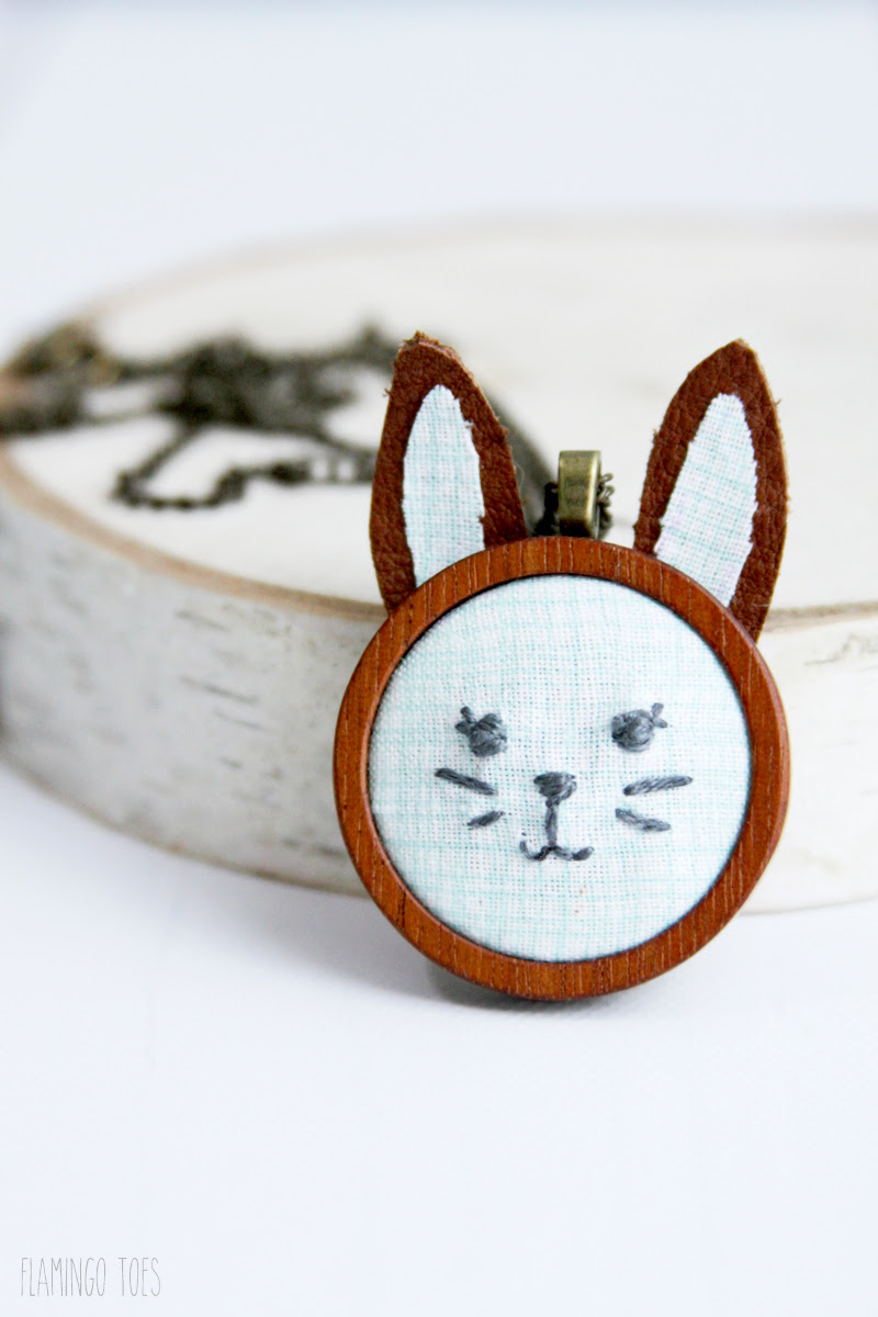 DIY Embroidered Bunny Pendant by Flamingo Toes