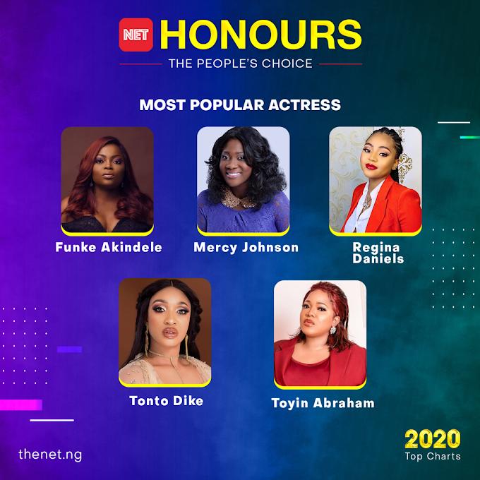 Funke Akindele, Mercy Johnson, Regina Daniels, Others Nominated for NET Honours 'Most Popular Actress'