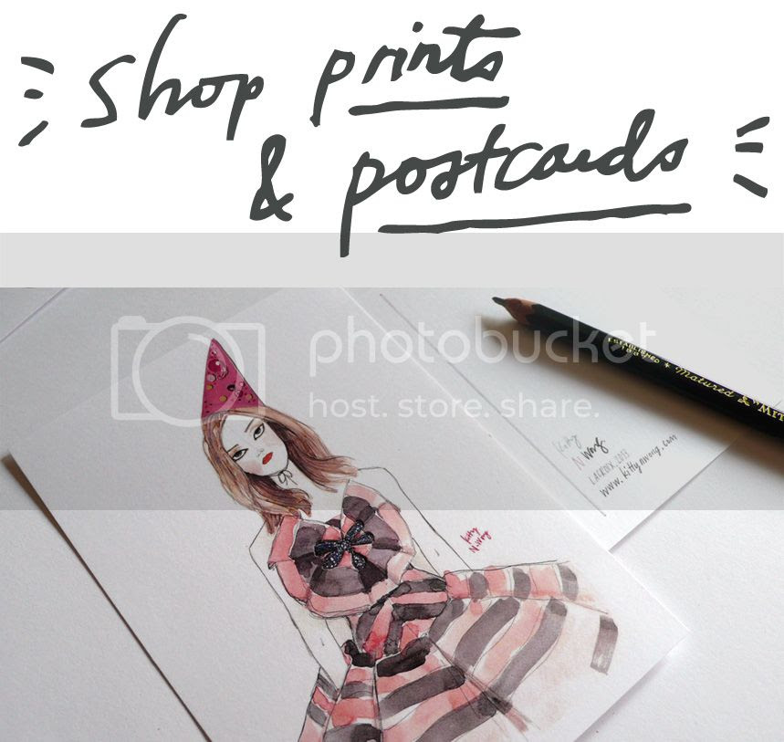 fashion illustration postcards