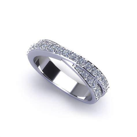 Crossover Diamond Wedding Ring   Jewelry Designs