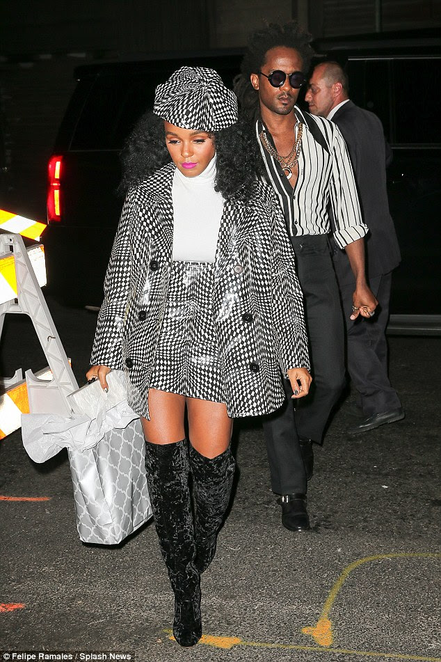 Monochrome madness: Janelle Monae wore a psychedelic black and white outfit
