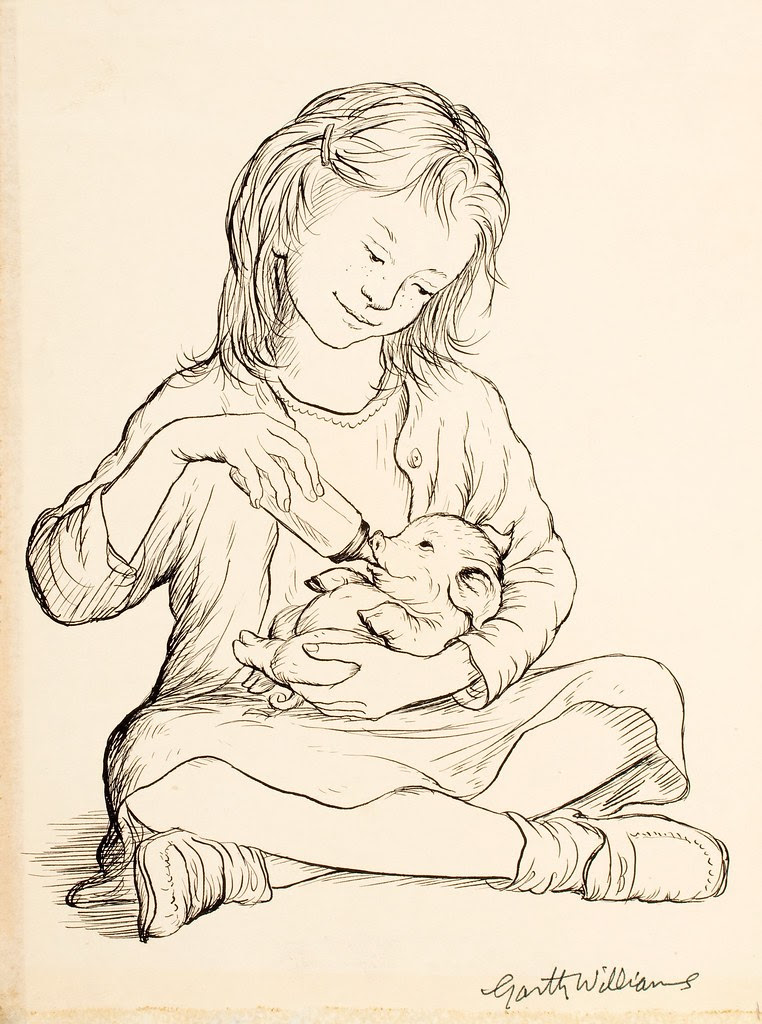 pen drawing of seated child bottle feeding baby pig