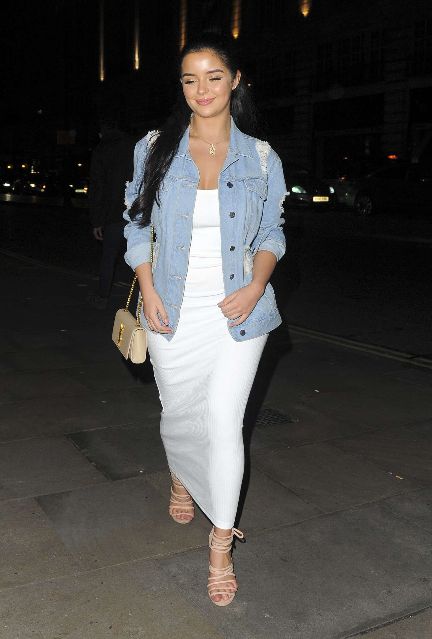 Demi Rose in Long White Dress out in London