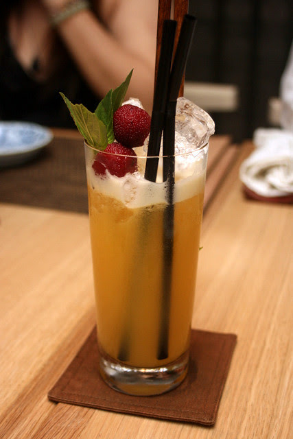 Nichibotsu (Gran centenario anejo, Fat Cow Biwa* Marmalade, Fat Cow cardamom syrup, fresh orange juice, egg white, yuzu)