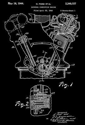 1944 - Internal Combustion Engine - H. Ford - Patent Art