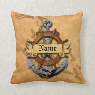 Personalized Nautical Anchor And Wheel Throw Pillow