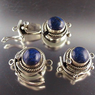 s12324 Sterling - Box Clasp w Stone -  Round Cabochon w Rope and Safety - Lapis Lazuli (1)