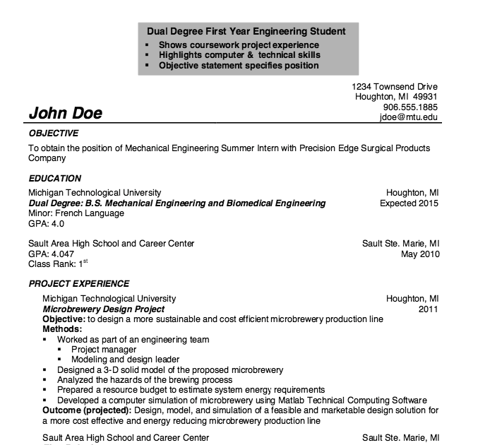 sample resume with gpa