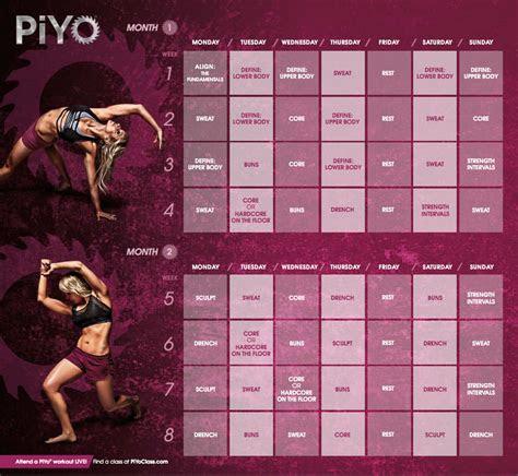 piyo workout calendar  improvement workout