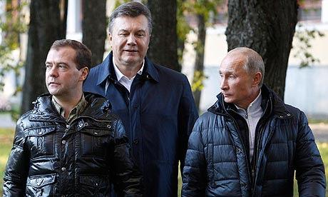 Dmitry Medvedev, Viktor Yanukovych and Vladimir Putin