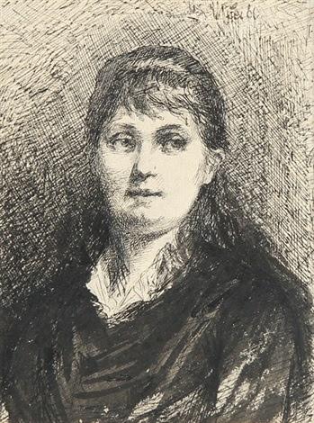 Brustbildnis Einer Jungen Frau Mit Langen Haaren By Wilhelm Maria