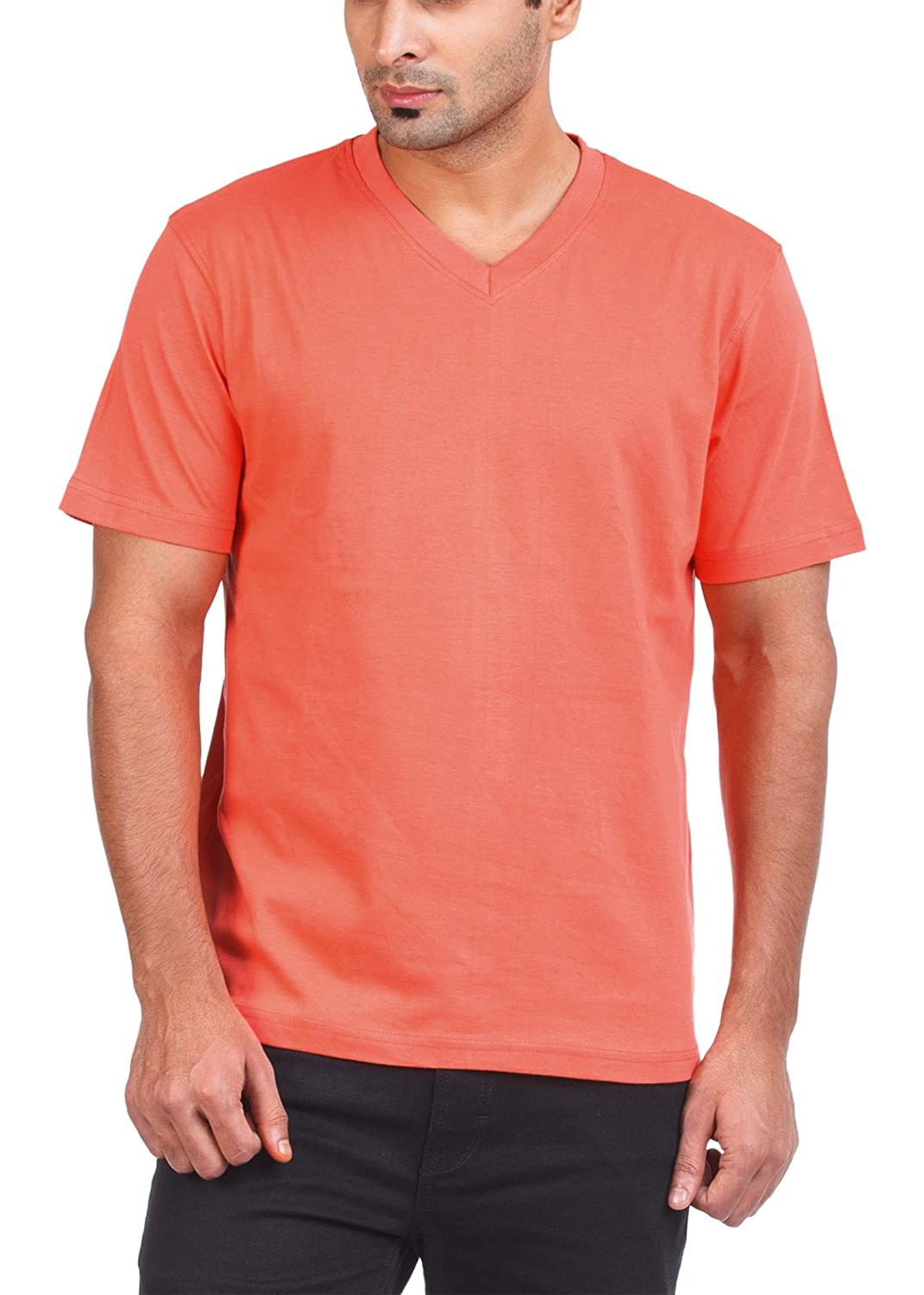 bd21199f Zovi Men's Cotton Clay Red Solid V-neck T-shirt. Rs.135/-