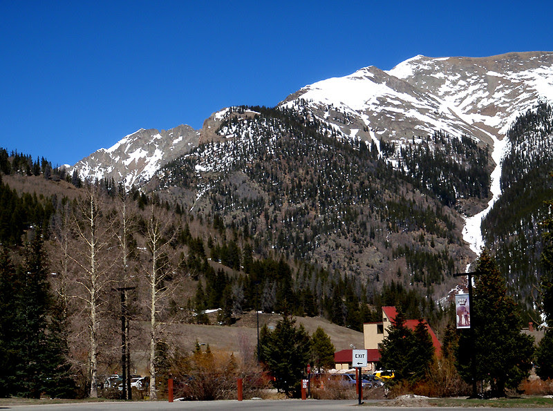 The base area of Copper mountain.  There should be more snow; hopefully next year will be more normal.
