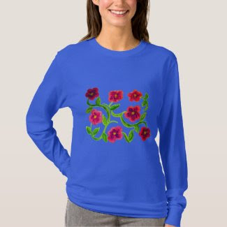 Petunia Flower Design on Women's T-Shirt