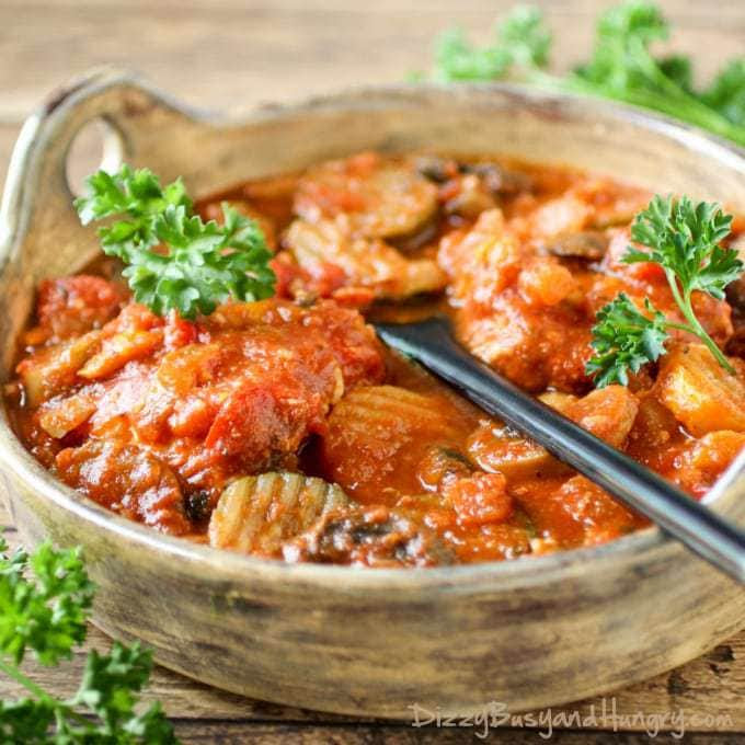 Slow Cooker Chicken Cacciatore | DizzyBusyandHungry.com - Only 10 minutes of prep for a delicious and nutritious family meal!
