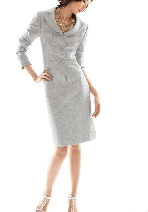 Albert Nipon Silver Skirt Suit Dress   Tradesy Weddings