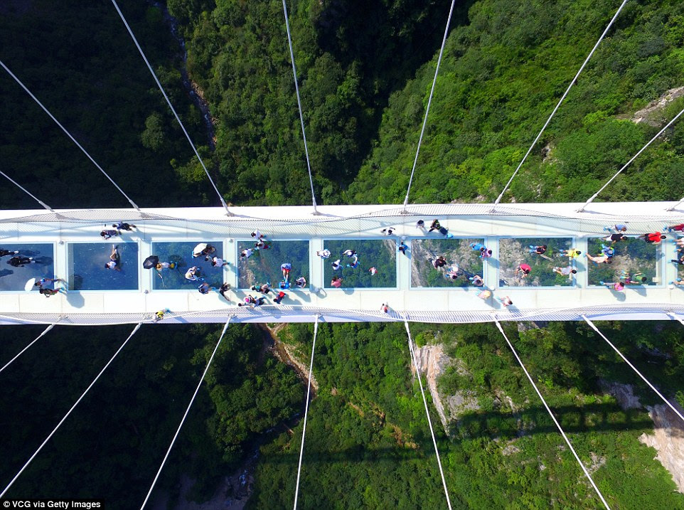 Those who cross the bridge earlier in the day were treated to views of the spectacular 984ft sheer drop underfoot