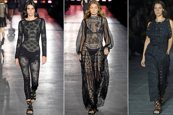 85e7f02ca15 Kendall Jenner joins glamorous Bella and Gigi Hadid at Alberta Ferretti MFW  show