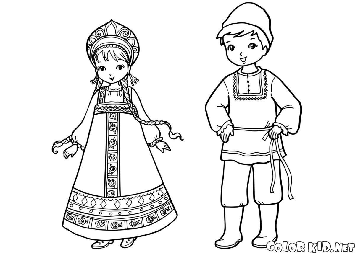 Boyama Sayfası Rus çocukları