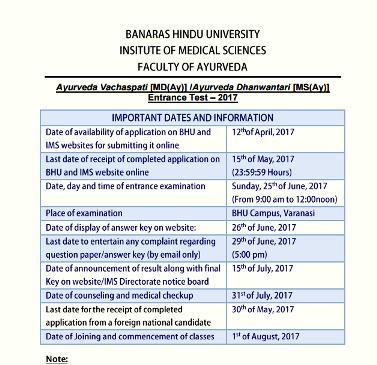 Bhu Ayurveda Pg Application Form 2017, Notice For Ayurveda Vachaspati Mday Ayurveda Dhanwantari Msay P G Entrance Test 2017 Banaras Hindu Universitybhu Varanasi, Bhu Ayurveda Pg Application Form 2017