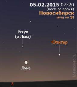 Луна и Юпитер на утреннем небе Новосибирска 5 февраля 2015 г.