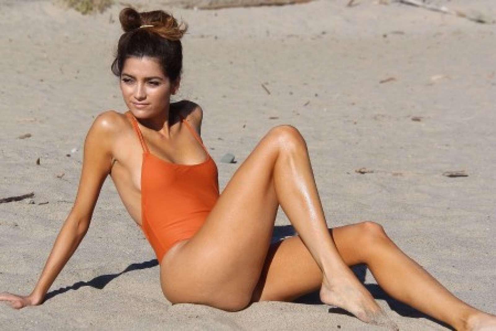 Blanca Blanco in Orange Swimsuit in Malibu