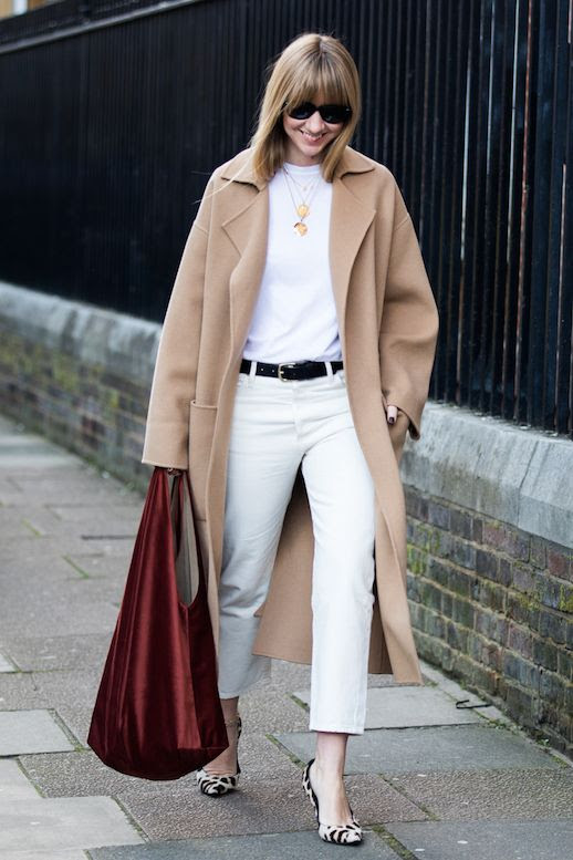 Le Fashion Blog London Fashion Blog Oval Sunglasses Beige Wool Long Coat Blood Red Silk Bag Black Belt White Cropped Jeans Printed Pumps Via Sandra Semburg