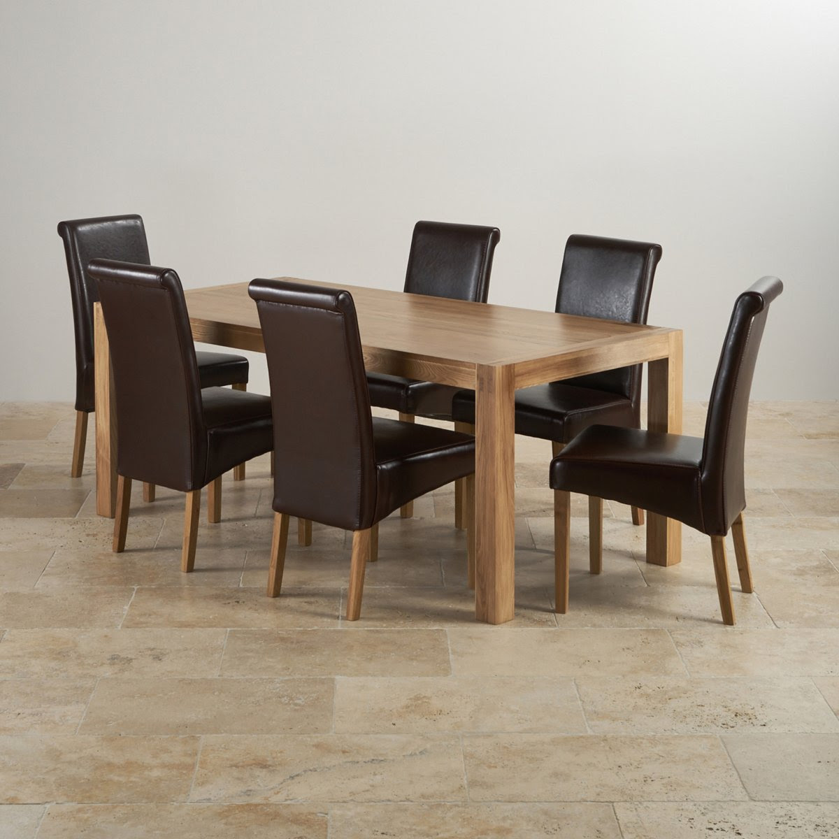 Alto Dining Set in Oak: Dining Table + 6 Brown Leather Chairs
